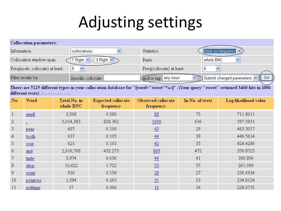 Adjusting settings