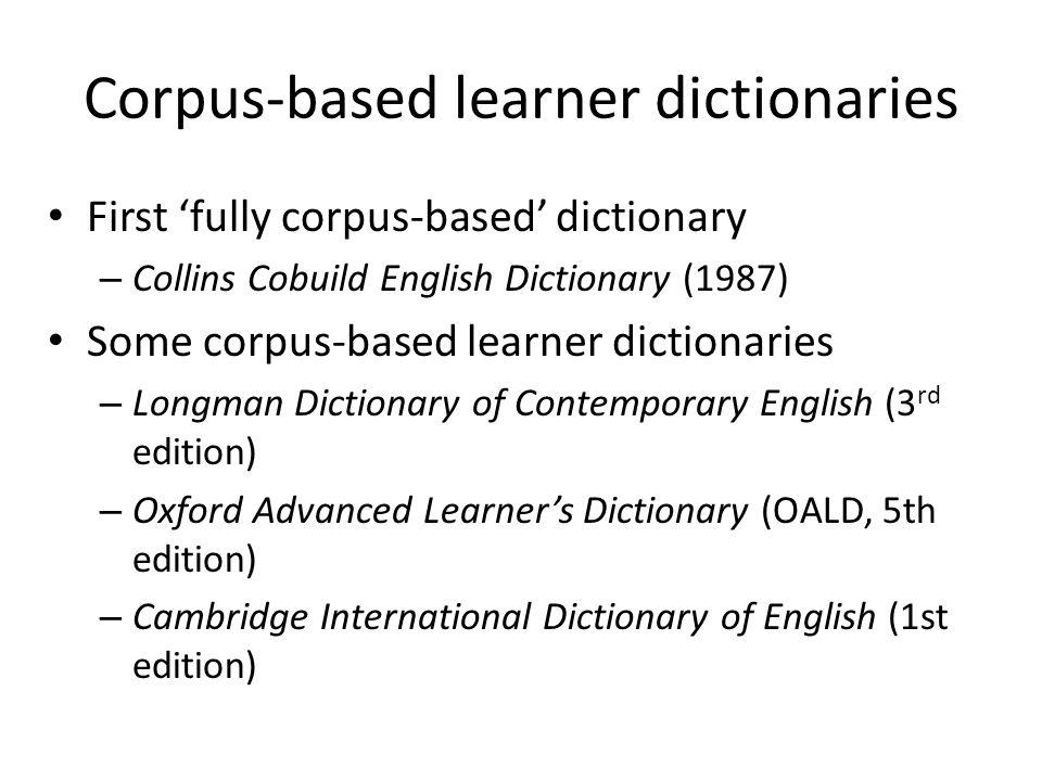 Corpus-based learner dictionaries