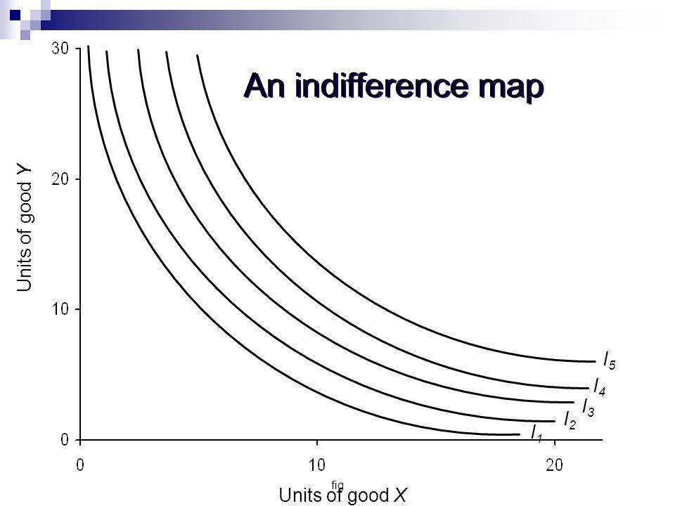 An indifference map Units of good Y I5 I4 I3 I2 I1 Units of good X