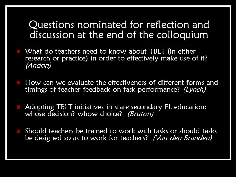 Questions nominated for reflection and discussion at the end of the colloquium