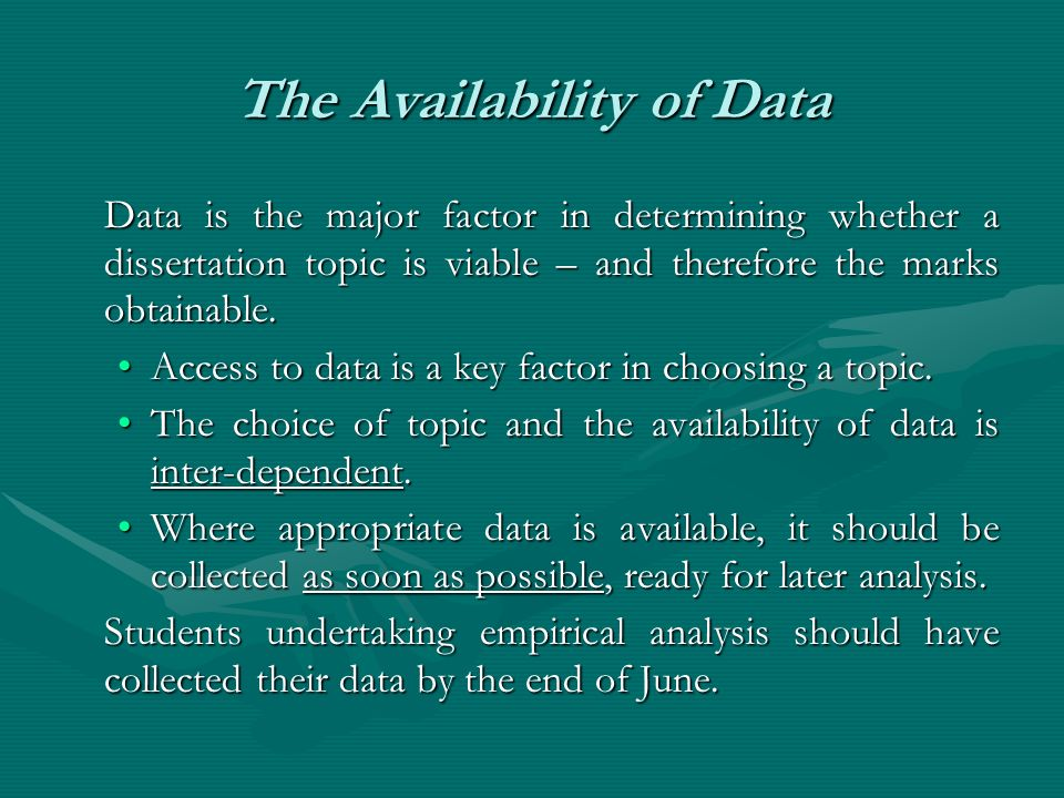 The Availability of Data