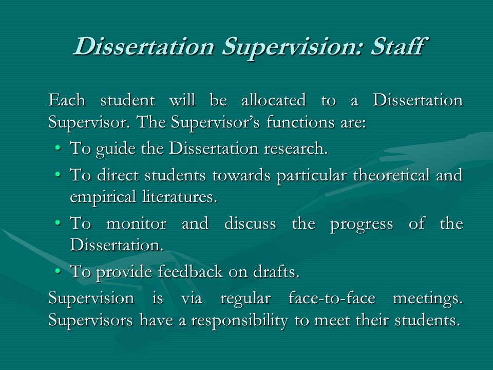 Faculty Advice for Supervising Dissertations