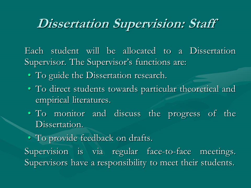 Dissertation Supervision: Staff