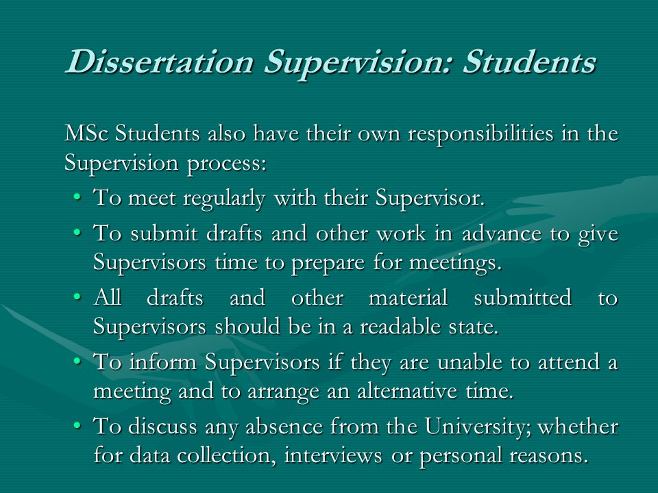 first meeting dissertation supervisor Knowing what you can expect from your supervisor in terms of support is vital when you start the dissertation module and when you start working on your dissertation it may not your supervisor can be expected to read first drafts of chapters in some detail but to comment on later and final versions only in a general sense.