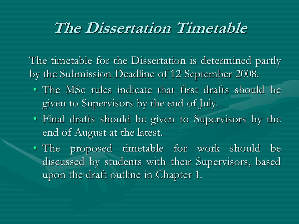 The Dissertation Timetable