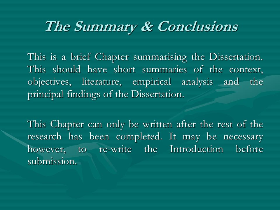 The Summary & Conclusions