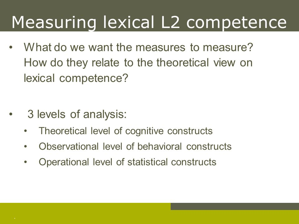Measuring lexical L2 competence