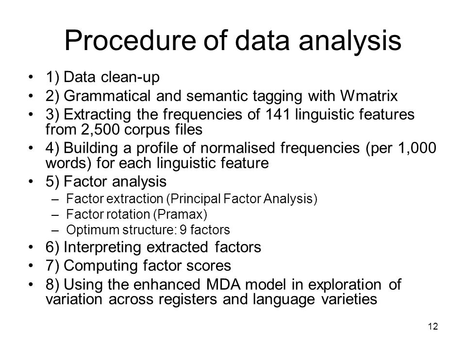 Procedure of data analysis