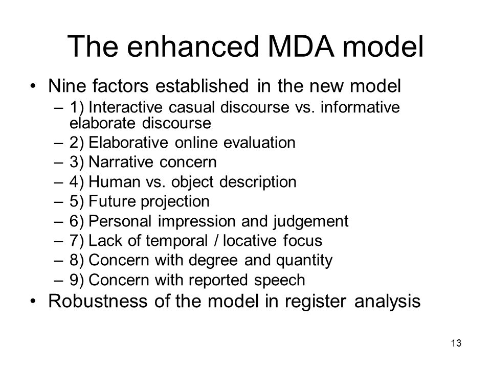 The enhanced MDA model Nine factors established in the new model