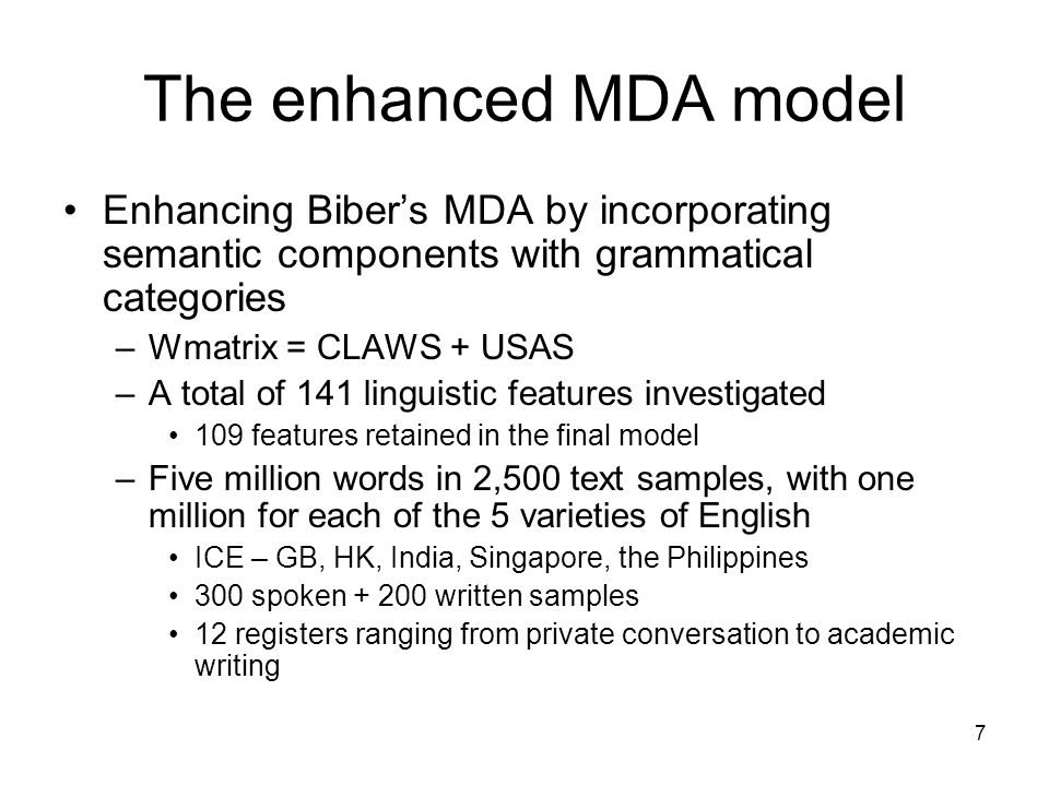 The enhanced MDA model Enhancing Biber's MDA by incorporating semantic components with grammatical categories.