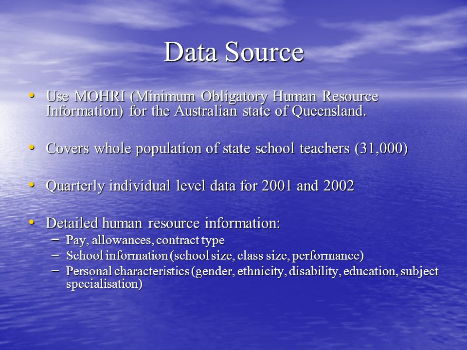Data Source Use MOHRI (Minimum Obligatory Human Resource Information) for the Australian state of Queensland.