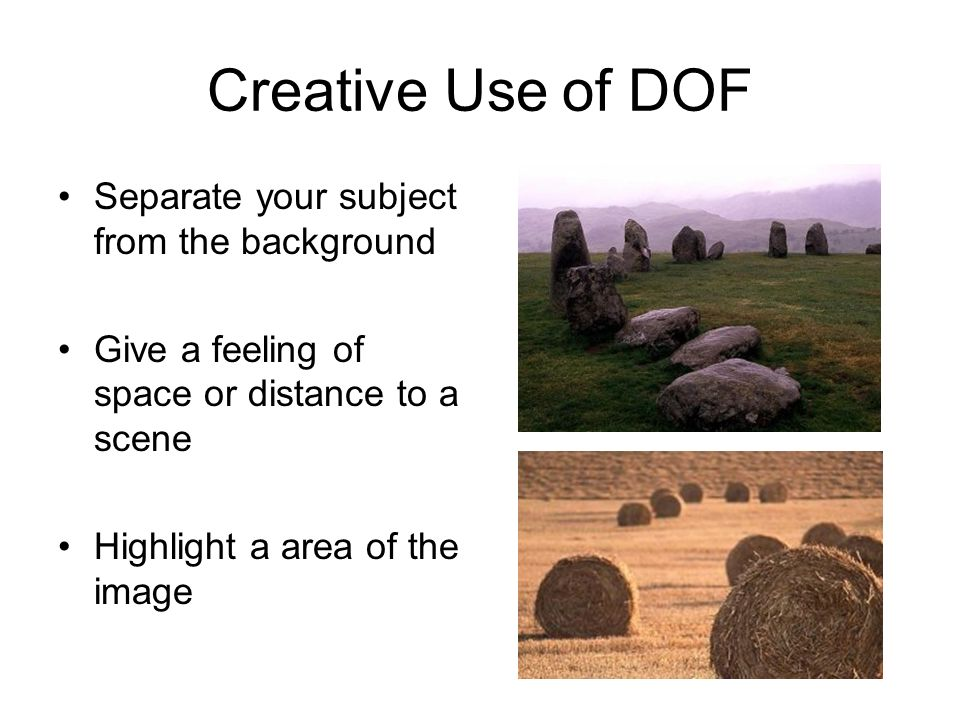 Creative Use of DOF Separate your subject from the background