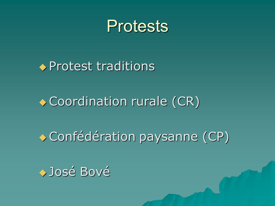 Protests Protest traditions Coordination rurale (CR)