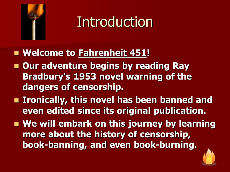 fahrenheit 451 a parable on the evils of censorship Censorship in fahrenheit 451 in ray bradbury's fahrenheit 451, the people live in a society full of censorship montag, the main character of the story, is inspired by a young girl to question law.