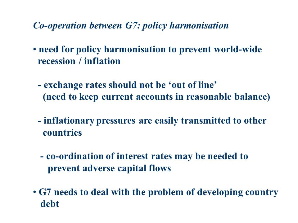 Co-operation between G7: policy harmonisation