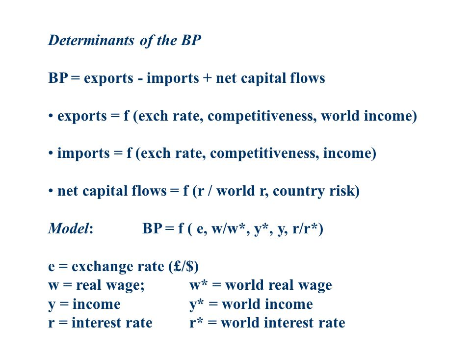 Determinants of the BP BP = exports - imports + net capital flows. exports = f (exch rate, competitiveness, world income)