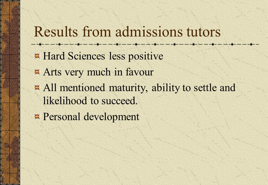 Results from admissions tutors