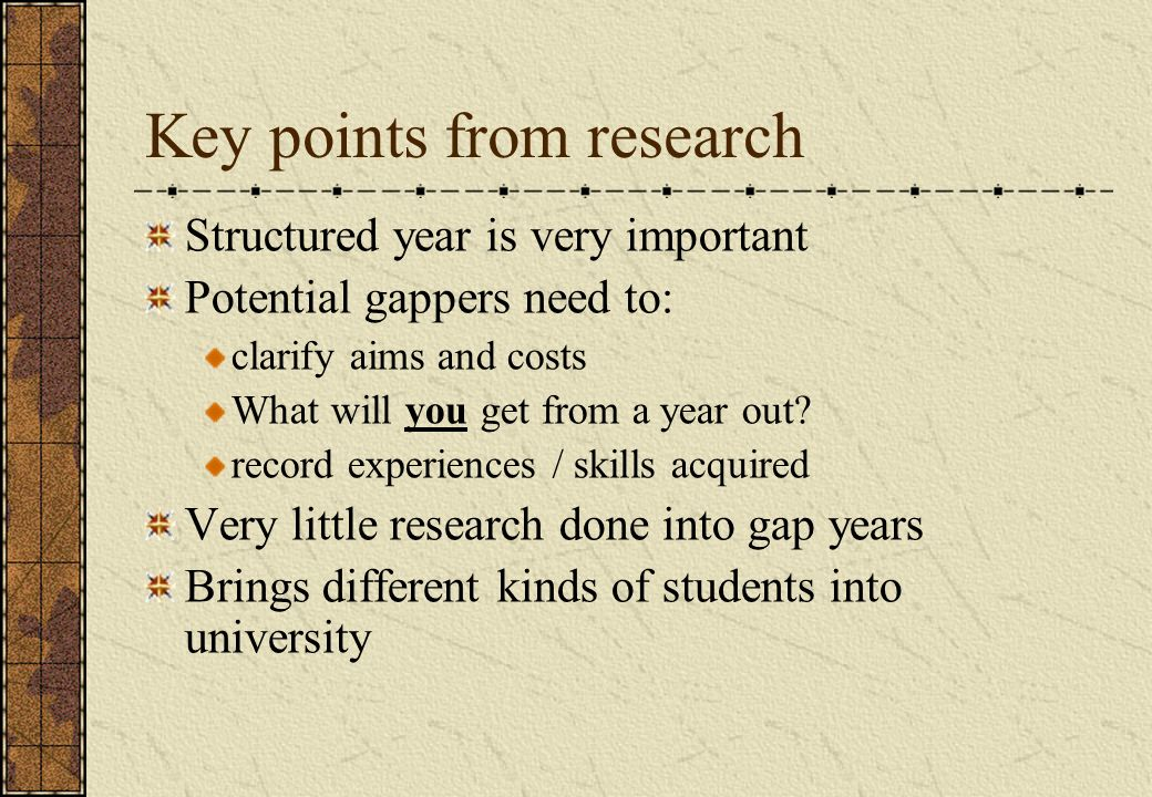 Key points from research