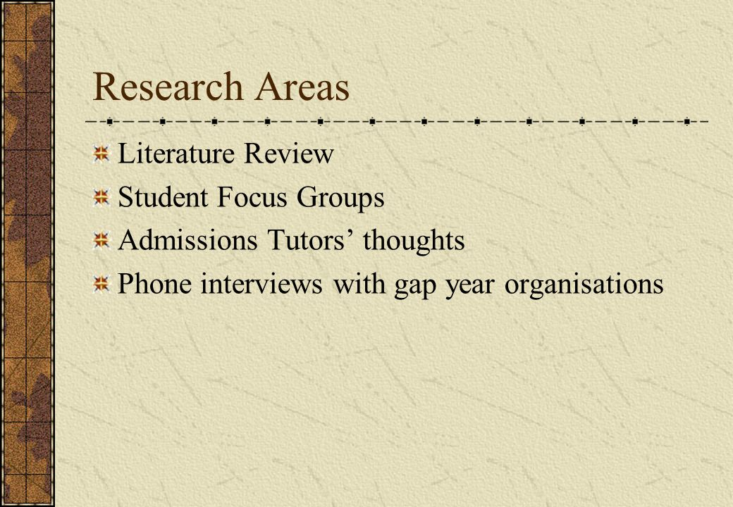 Research Areas Literature Review Student Focus Groups