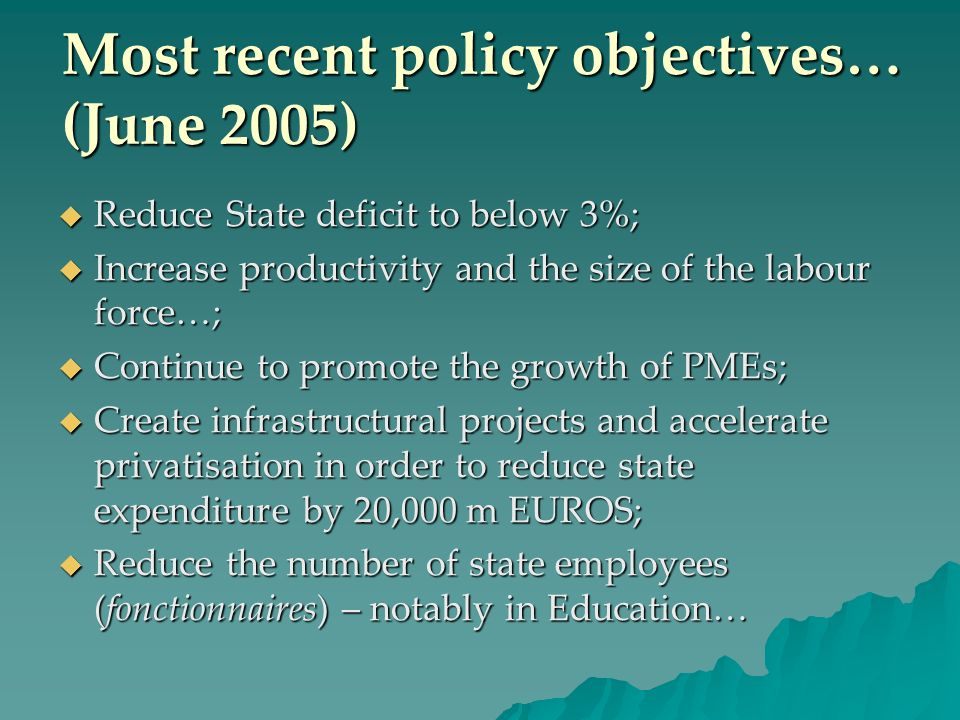 Most recent policy objectives… (June 2005)