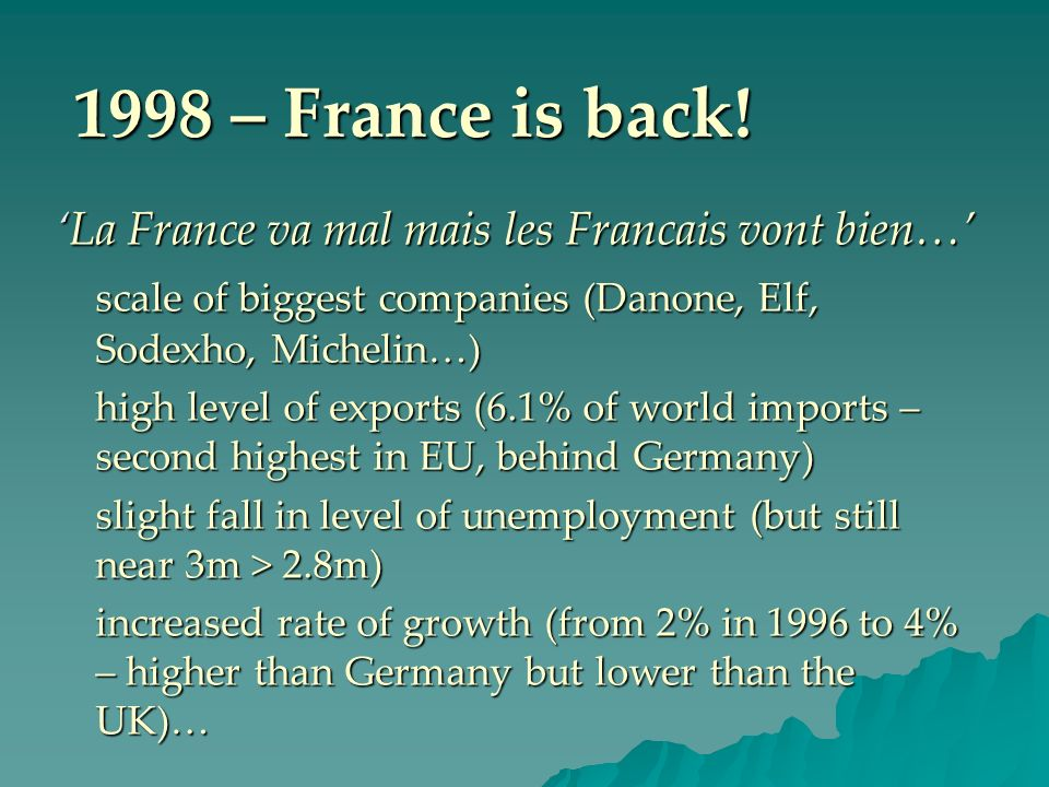 1998 – France is back! 'La France va mal mais les Francais vont bien…'