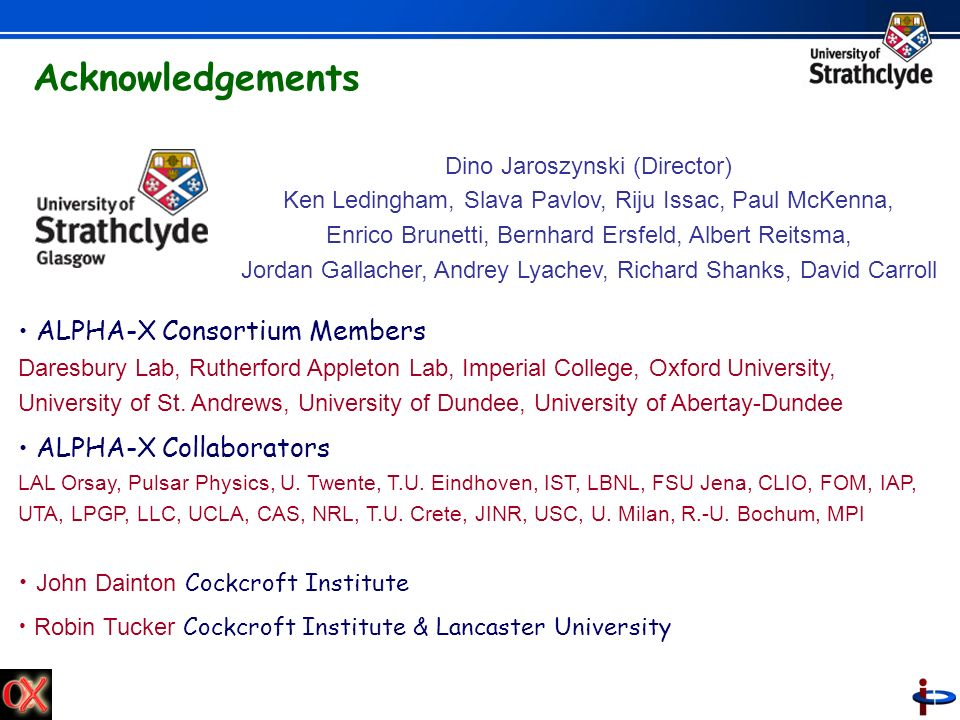 Acknowledgements ALPHA-X Consortium Members ALPHA-X Collaborators