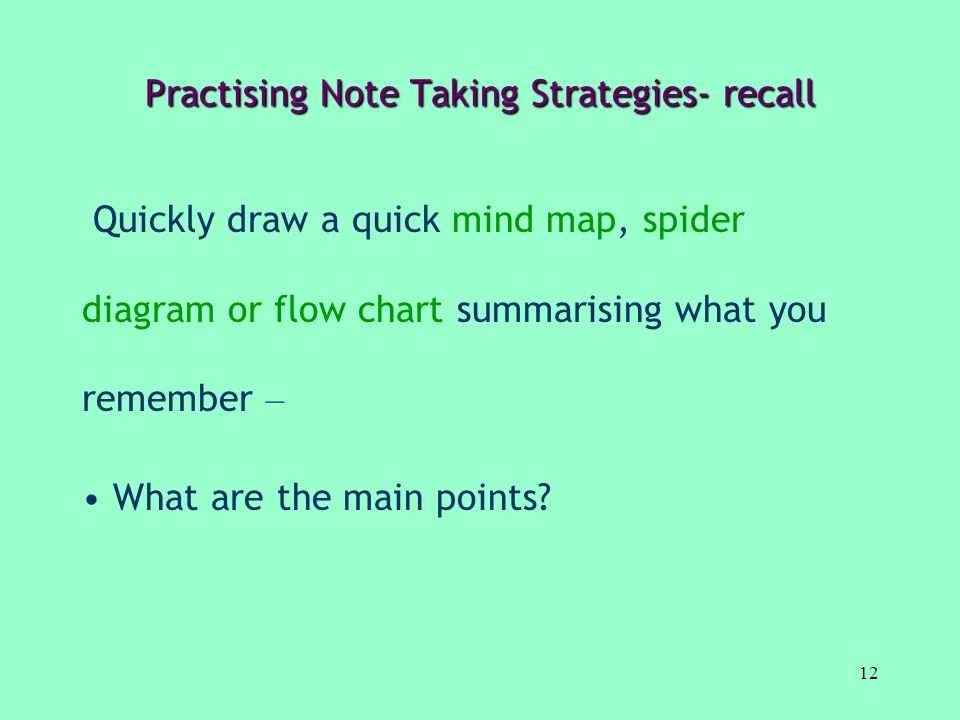 Practising Note Taking Strategies- recall