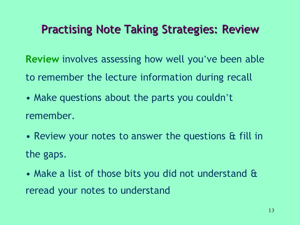 Practising Note Taking Strategies: Review