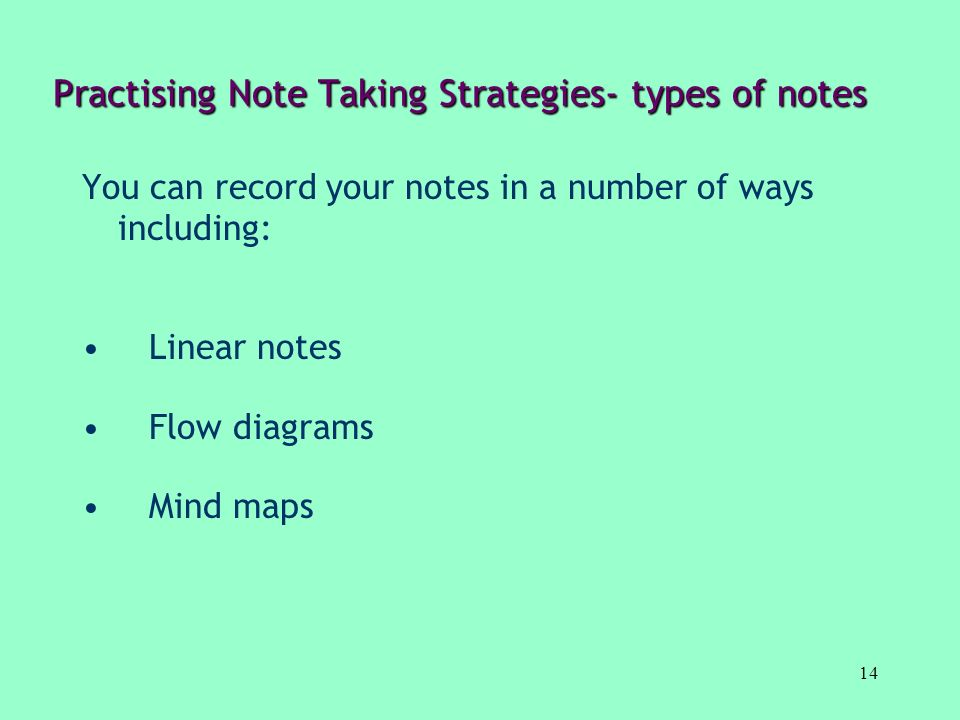 Practising Note Taking Strategies- types of notes