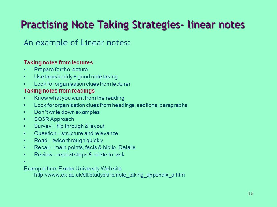 Practising Note Taking Strategies- linear notes
