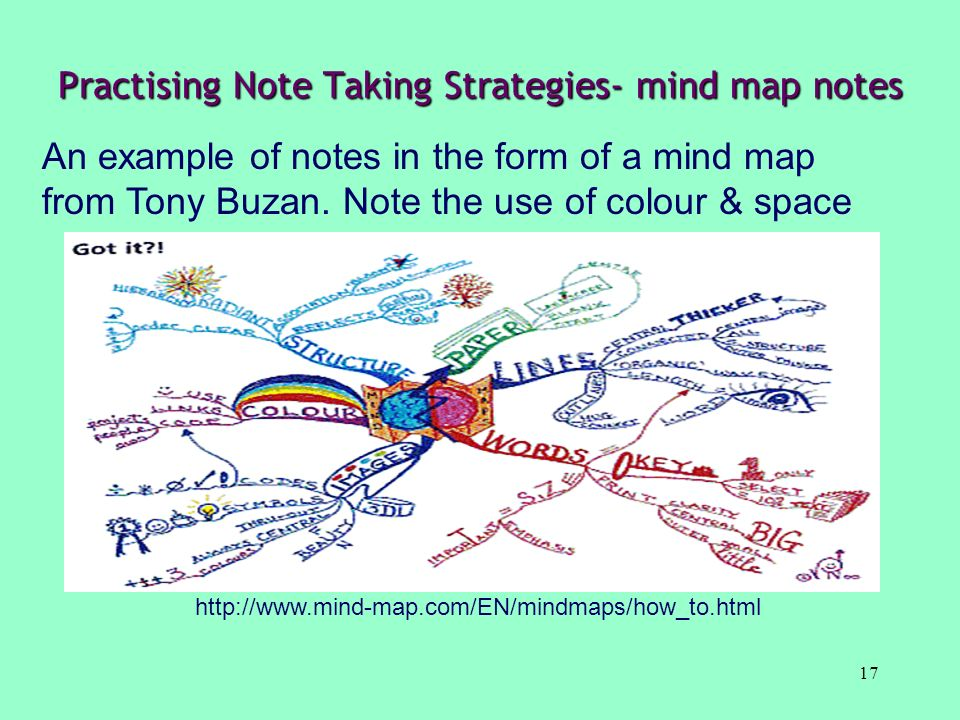 Practising Note Taking Strategies- mind map notes
