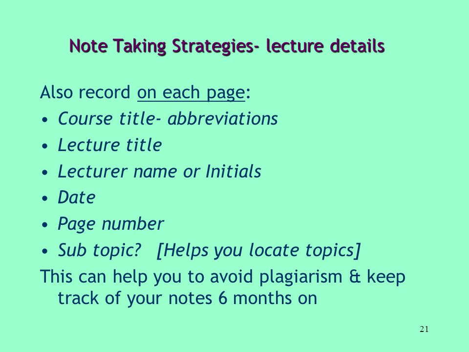 Note Taking Strategies- lecture details