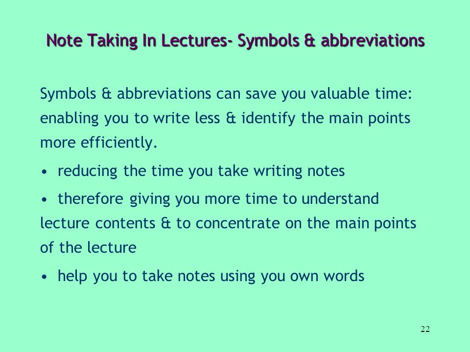 Note Taking In Lectures- Symbols & abbreviations