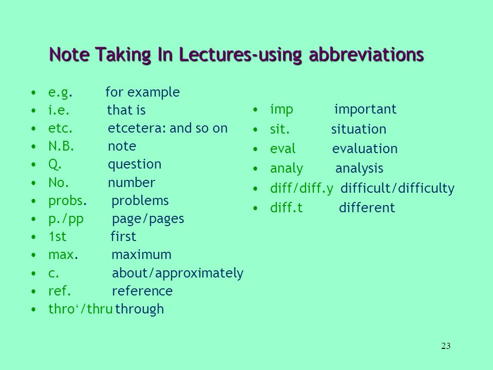 Note Taking In Lectures-using abbreviations