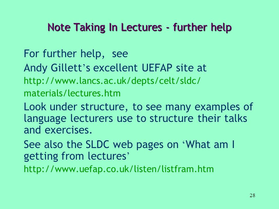 Note Taking In Lectures - further help