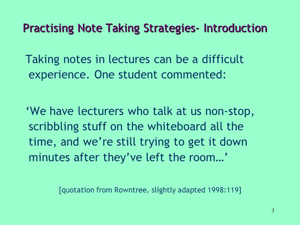 Practising Note Taking Strategies- Introduction