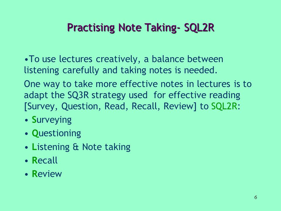 Practising Note Taking- SQL2R
