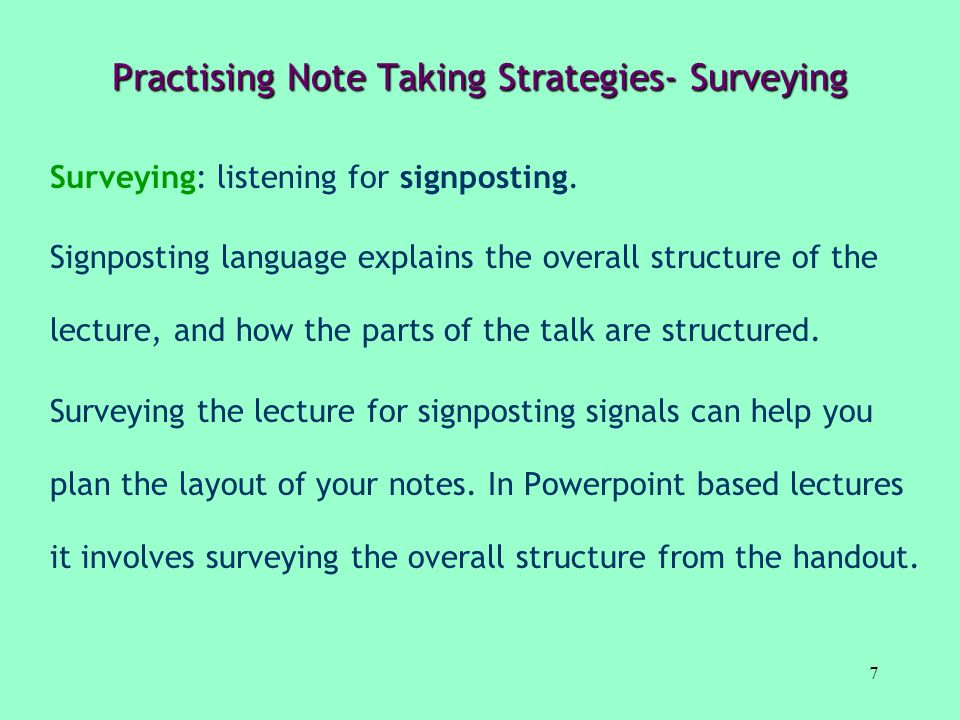 Practising Note Taking Strategies- Surveying