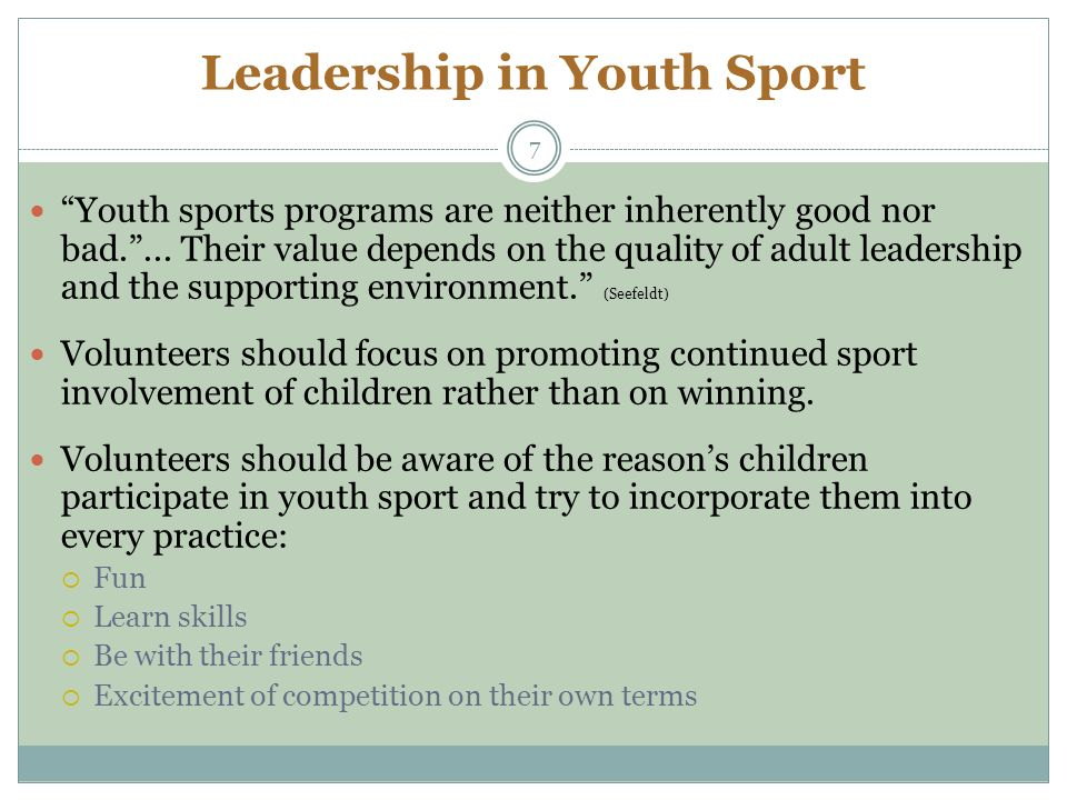 negative leadership and youth sports essay Leadership essaysthroughout my life i have encountered the chance to experience position of being a leader i have experience democratic leaderships through playing on a high school football team, being apart of groups in college for class presentations, being a youth leader in my church, and also.