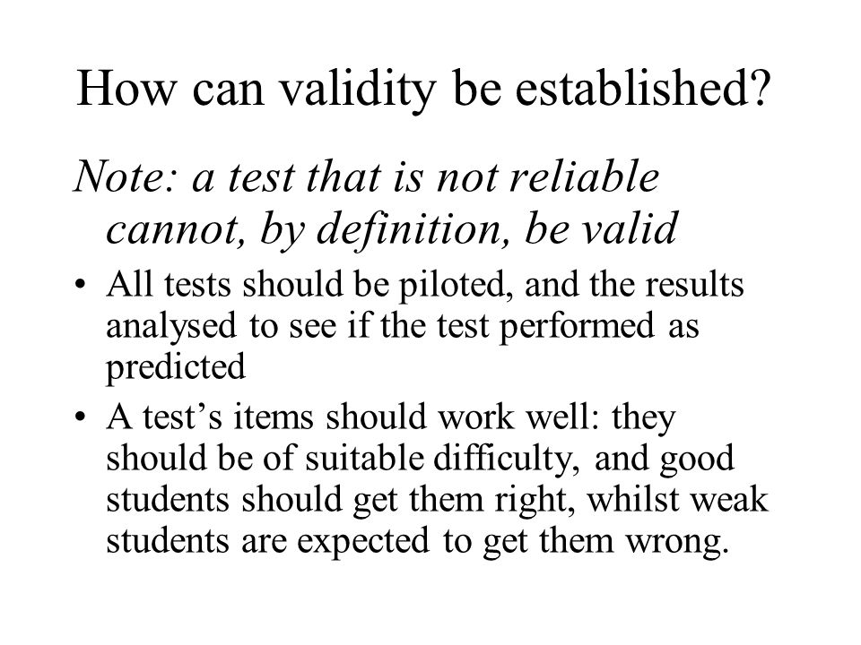 How can validity be established