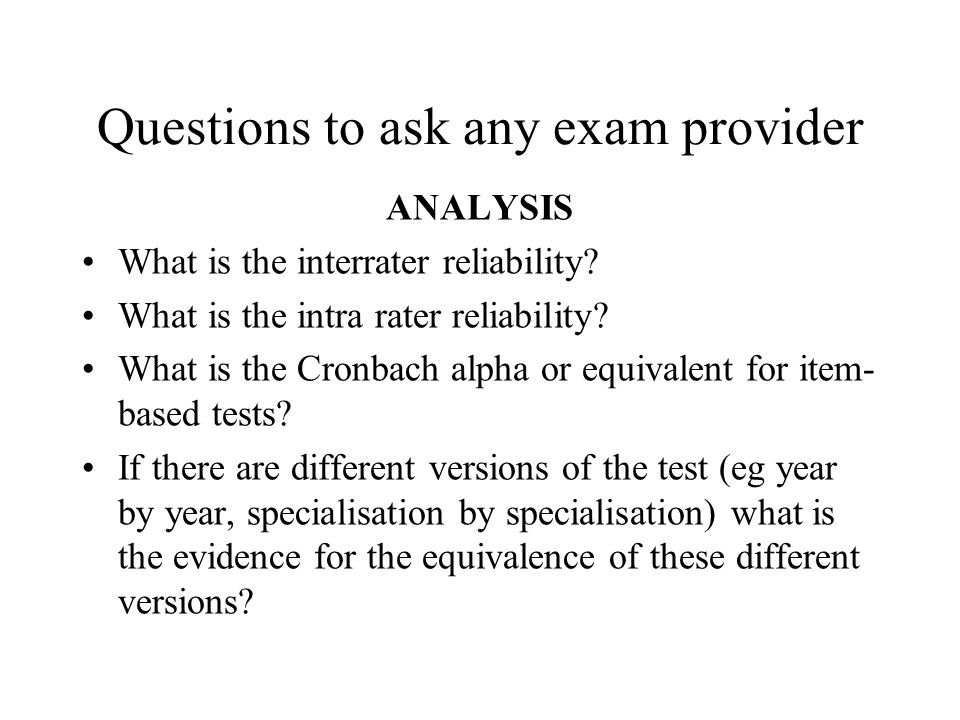 Questions to ask any exam provider