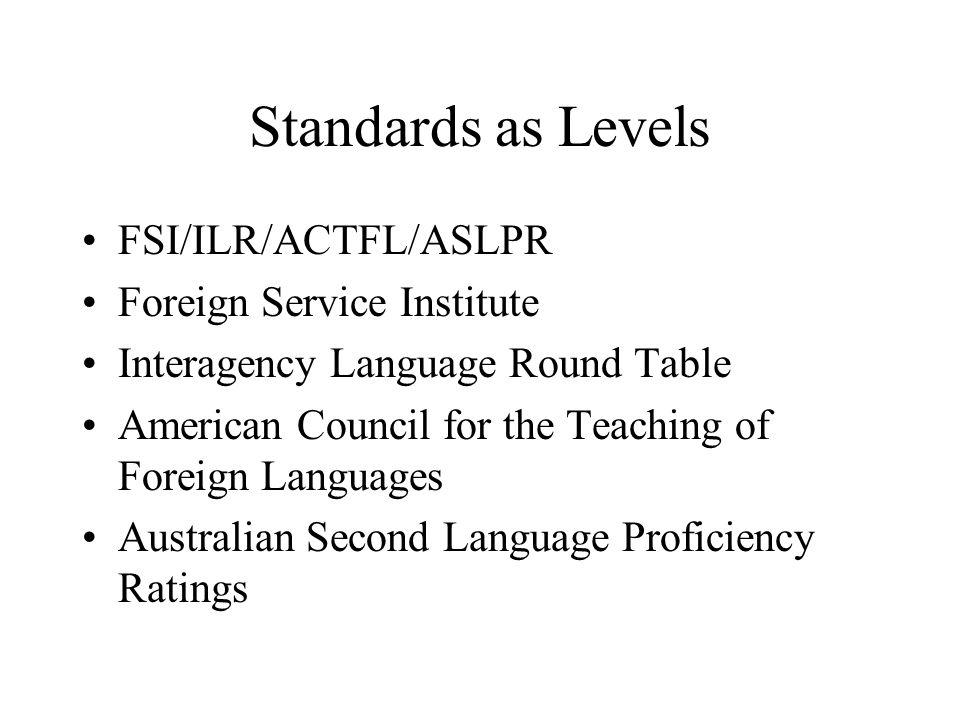 Standards as Levels FSI/ILR/ACTFL/ASLPR Foreign Service Institute