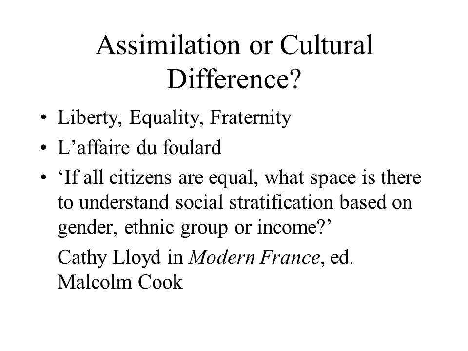Assimilation or Cultural Difference