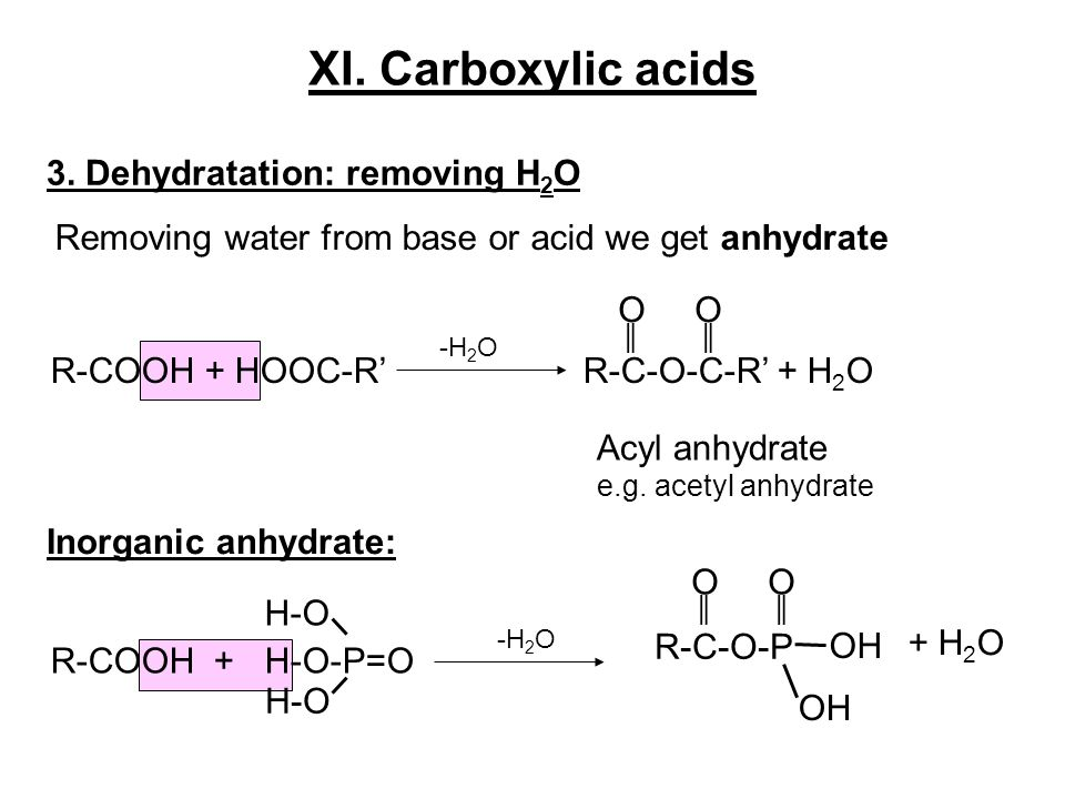 XI. Carboxylic acids 3. Dehydratation: removing H2O