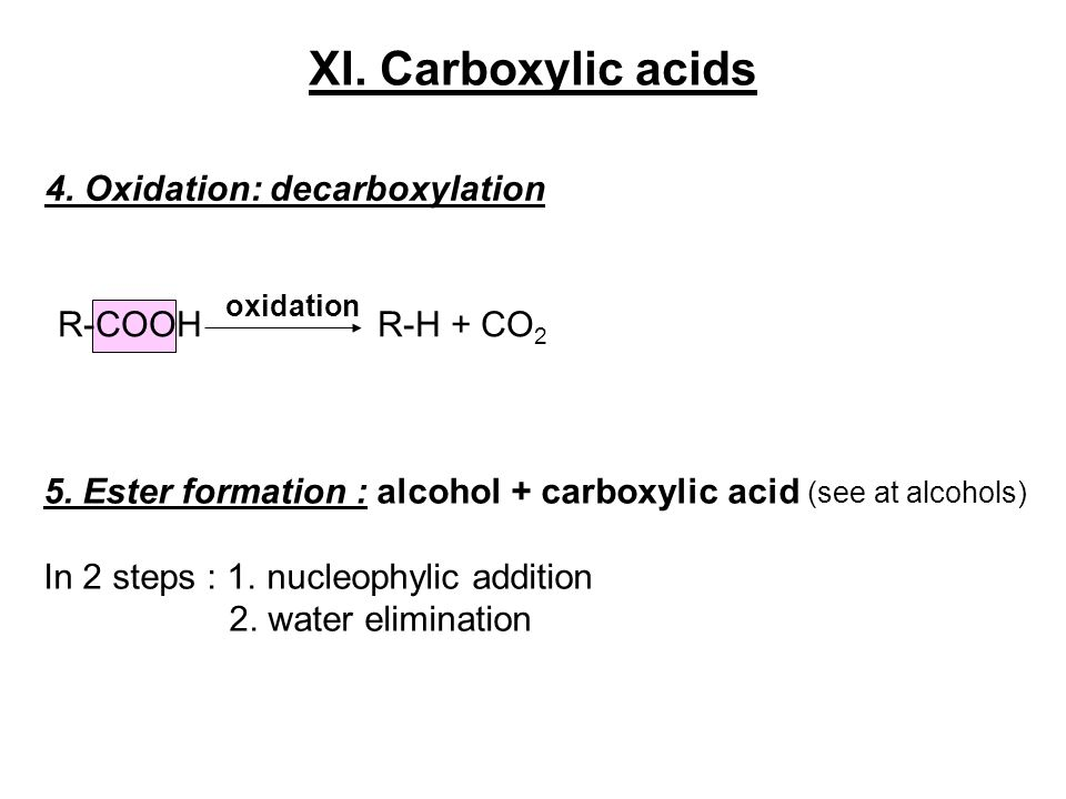 XI. Carboxylic acids 4. Oxidation: decarboxylation R-COOH R-H + CO2