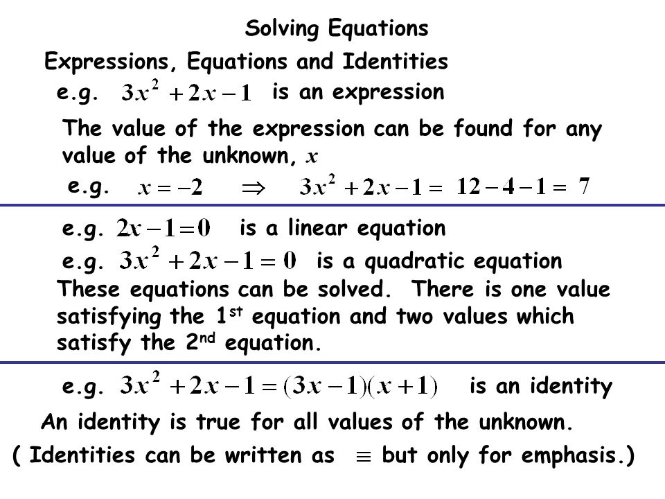 how to know if an equation is an identity