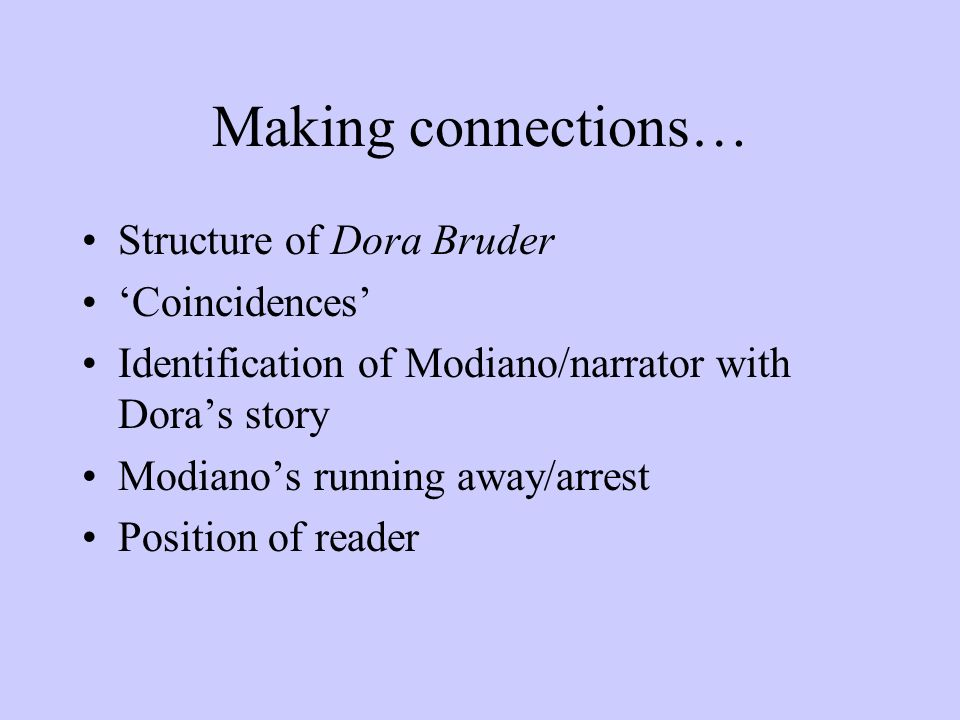 Making connections… Structure of Dora Bruder 'Coincidences'