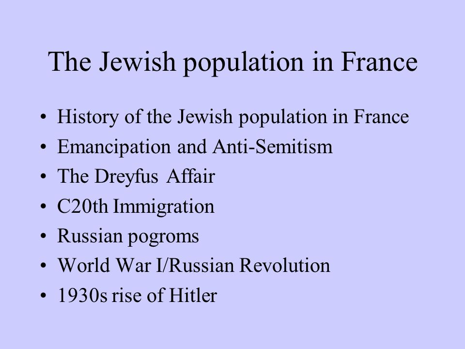 The Jewish population in France