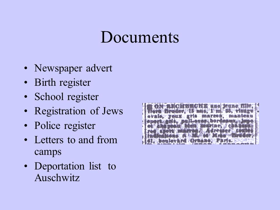 Documents Newspaper advert Birth register School register