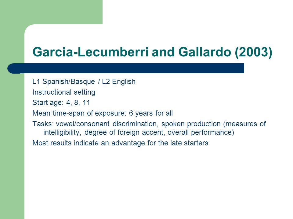 Garcia-Lecumberri and Gallardo (2003)